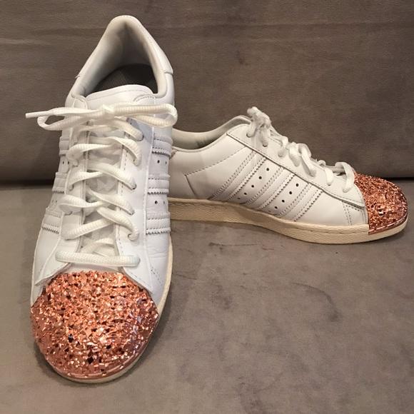 adidas superstar rose gold glitter